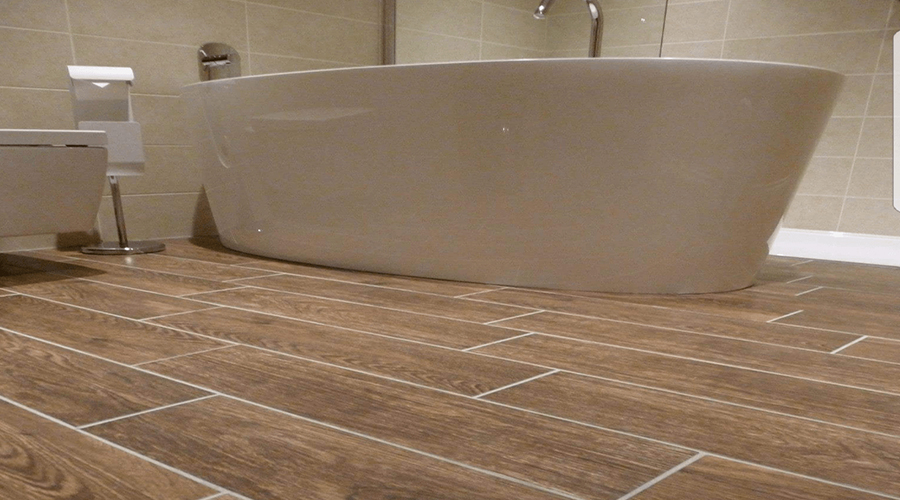 Wood effect bathroom tiles