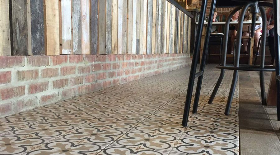 Patterned Tiles and Brick Bar